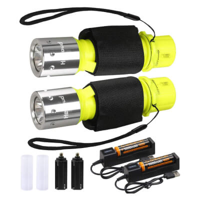 HECLOUD 2 Pack LED XM-T6 Professional Diving Flashlight with Battery Charger