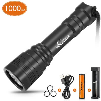 VOLADOR Diving Flashlight, 1000 Lumen Waterproof Diving Torch Rechargeable Scuba Dive Lights 150M