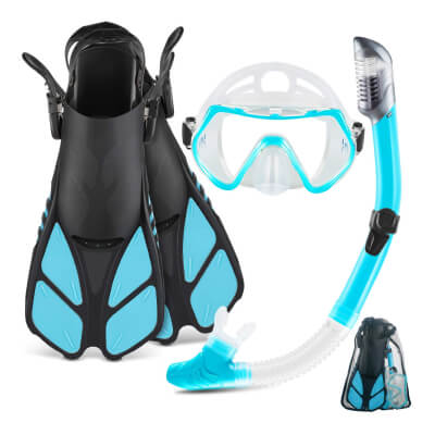 ZEEPORTE Mask Fin Snorkel Set with Adult Snorkeling Gear
