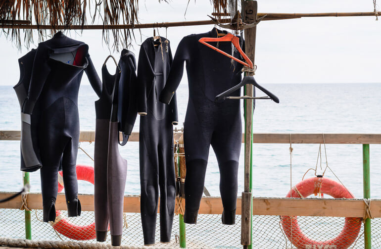 wetsuits are drying